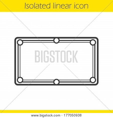 Billiard table linear icon. Thin line illustration. Contour symbol. Vector isolated outline drawing