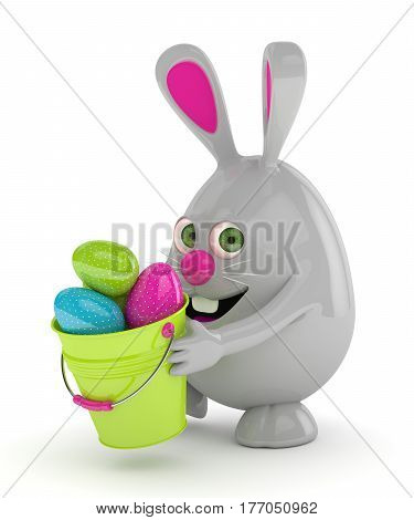 3D Rendering Of Easter Bunny With Eggs And Bucket