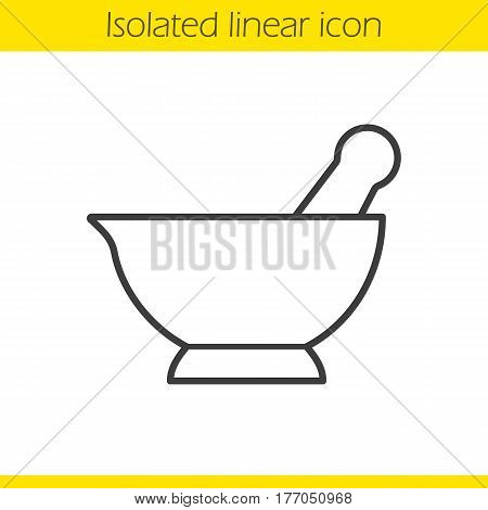 Mortar and pestle linear icon. Naturopathy thin line illustration. Alternative herbal medicine contour symbol. Vector isolated outline drawing