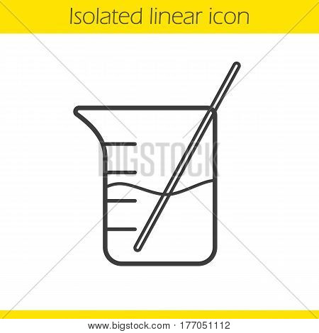 Beaker with rod and liquid linear icon. Thin line illustration. Chemistry experiment contour symbol. Vector isolated outline drawing