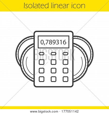 Income calculations linear icon. Thin line illustration. Calculator with coins. Financial planning contour symbol. Vector isolated outline drawing