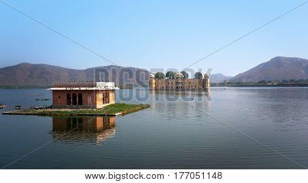 Water Palace In Man Sagar Lake. Jaipur, Rajasthan, India. 18Th Century.