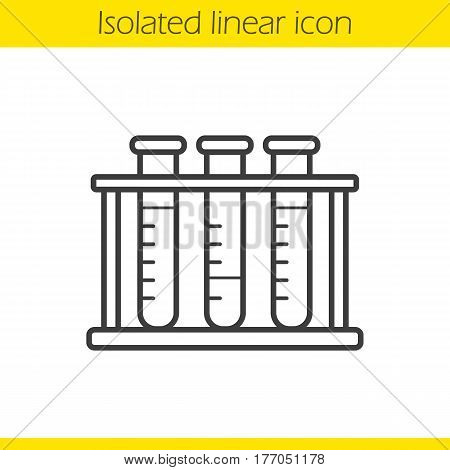 Test tubes rack linear icon. Thin line illustration. Contour symbol. Vector isolated outline drawing
