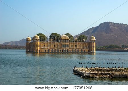 View Of Jal Mahal From The Man Sagar Lake. Jal Mahal Is The Major Tourist Attraction In Jaipur