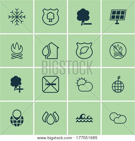 Set Of 16 Ecology Icons. Includes Home, Ocean Wave, Timber And Other Symbols. Beautiful Design Elements.