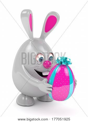 3D Rendering Of Easter Bunny With Present Egg