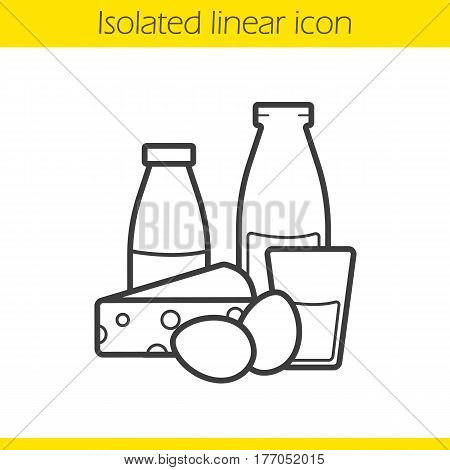 Dairy products linear icon. Thin line illustration. Yogurt, bottle and glass of milk, eggs and cheese. Grocery store items contour symbol. Vector isolated outline drawing
