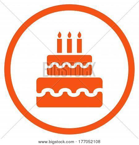 Birthday Cake rounded icon. Vector illustration style is flat iconic symbol inside circle, orange color, white background.