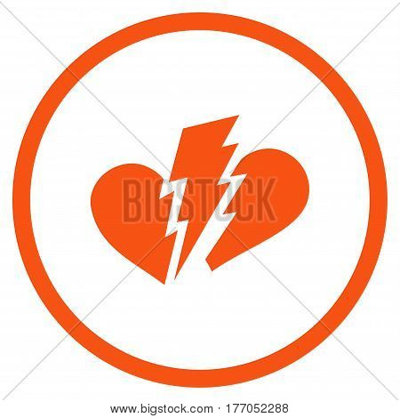 Broken Heart rounded icon. Vector illustration style is flat iconic symbol inside circle, orange color, white background.