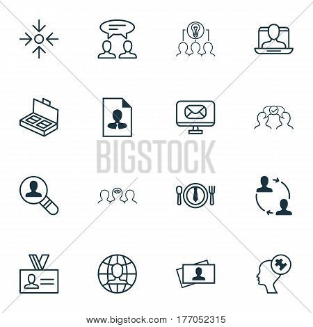 Set Of 16 Business Management Icons. Includes Open Vacancy, Cooperation, Collaborative Solution And Other Symbols. Beautiful Design Elements.