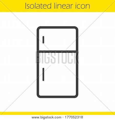 Fridge linear icon. Thin line illustration. Refrigerator contour symbol. Vector isolated outline drawing