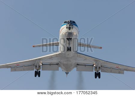 Military aircraft Tu-134 is landing Rostov-on-Don Russia 7 February 2012