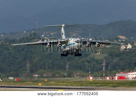 Russian military transport aircraft Ilyushin IL-76 takes off from Adler city airport. Date of photographing 09.08.2012