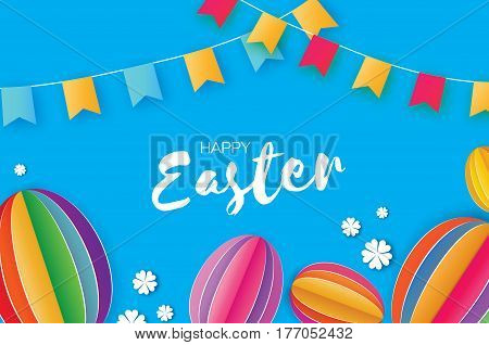 Happy Easter Greeting card. Flower, Egg, flags in paper cut, origami and 3d style. Colorful Egg ellipse. Space for text. Blue background. Vector illustration.