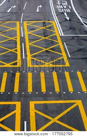 picture of road markings on a street in Hongkong