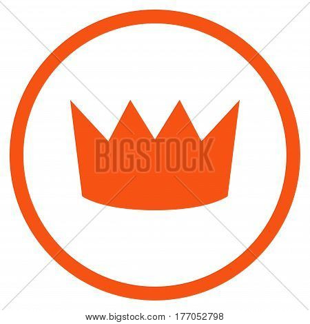 Crown rounded icon. Vector illustration style is flat iconic symbol inside circle, orange color, white background.
