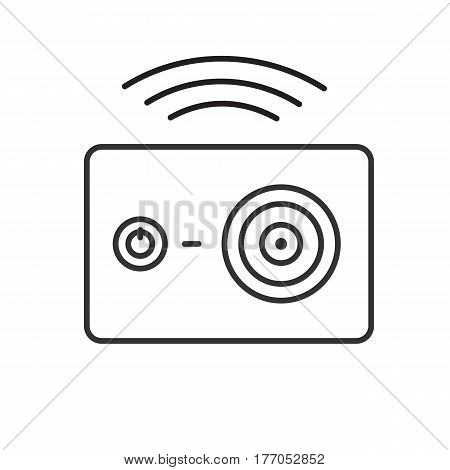 Action camera wireless wifi connection. Linear icon. Thin line illustration. Contour symbol. Vector isolated outline drawing