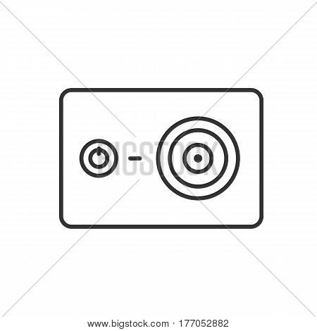 Action camera linear icon. Thin line illustration. Contour symbol. Vector isolated outline drawing
