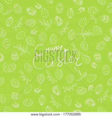 Easter Floral Pattern With Lettering In Green