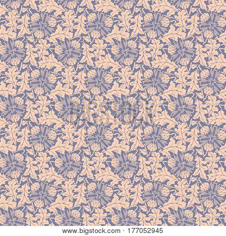 Dandelion violet seamless pattern background vector.  Blowball wallpaper