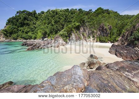 beautiful sand and sea tropical beach in phang nga andaman sea thailand.