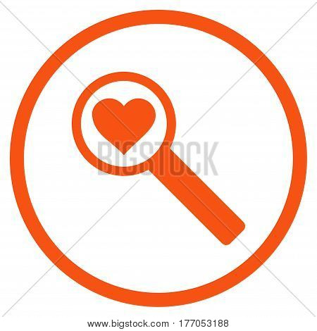 Find Love rounded icon. Vector illustration style is flat iconic symbol inside circle, orange color, white background.