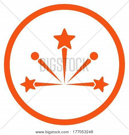 Fireworks Bang rounded icon. Vector illustration style is flat iconic symbol inside circle, orange color, white background.