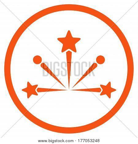 Fireworks Bang rounded icon. Vector illustration style is flat iconic symbol inside circle, orange color, white background.