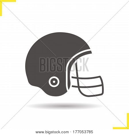 American football helmet icon. Drop shadow silhouette symbol. Negative space. Vector isolated illustration