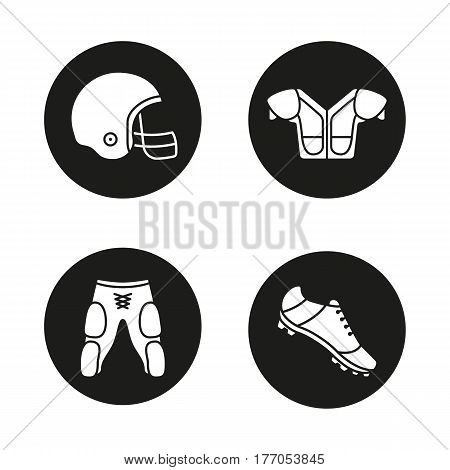 American football player's uniform icons set. Helmet, shoulder pad, shoe, shorts. Vector white silhouettes illustrations in black circles