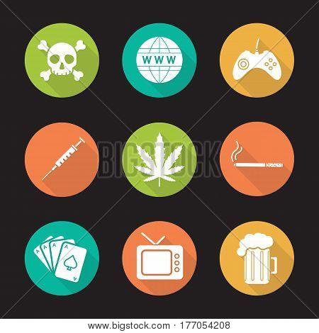 Addictions and bad habits. Flat design long shadow icons set. Skull and crossbones, www globe symbol, gamepad, syringe, marijuana leaf, cigarette, cards deck, tv, beer. Vector silhouette illustration