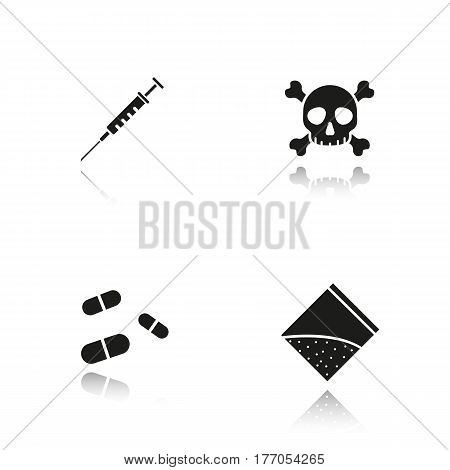 Drugs drop shadow black icons set. Syringe with needle, crossbones death and poison symbol, pills, narcotics packet. Isolated vector illustrations