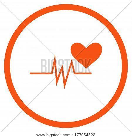 Heart Pulse Signal rounded icon. Vector illustration style is flat iconic symbol inside circle, orange color, white background.