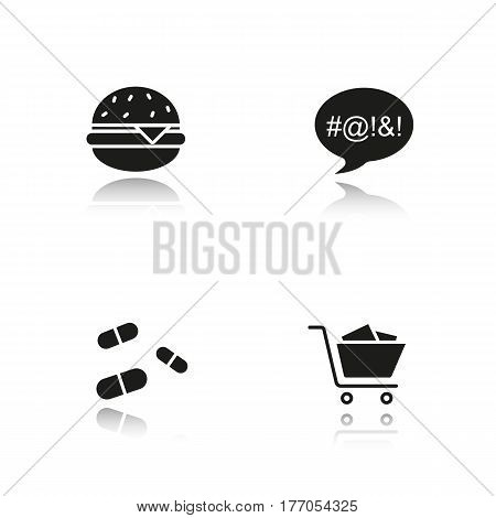 Addictions drop shadow black icons set. Obesity, dirty language, pills and oniomania shopping. Fast food, drugs, shopping cart and swearing. Isolated vector illustrations