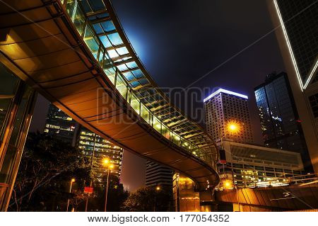 Night View With Footbridge In Hongkong Central