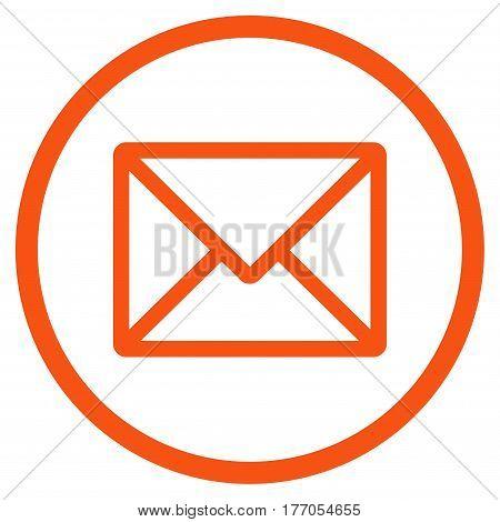 Letter rounded icon. Vector illustration style is flat iconic symbol inside circle, orange color, white background.