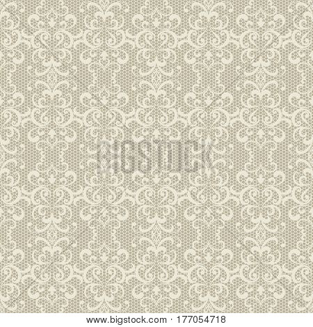 Seamless lace pattern, tulle texture, vintage ornamental background in neutral color