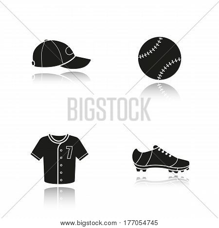 Baseball drop shadow black icons set. Softball equipment. Ball, cap, shoe and t-shirt. Isolated vector illustrations