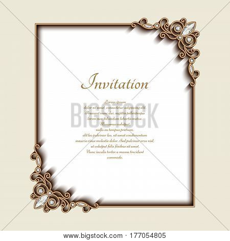Vintage photo frame with gold jewelry border and corner decoration, greeting card or invitation design