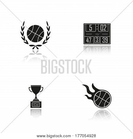Basketball championship. Drop shadow black icons set. Ball in laurel wreath, scoreboard, winner gold trophy, burning ball. Isolated vector illustrations