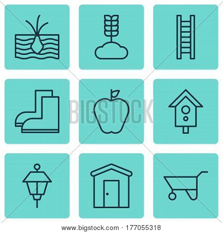 Set Of 9 Agriculture Icons. Includes Birdhouse, Gardening Shoes, Taste Apple And Other Symbols. Beautiful Design Elements.
