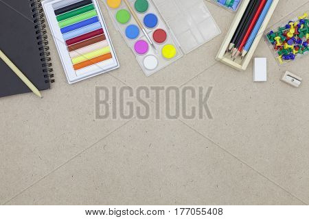 Back to School concept school supplies and accessories on the desk