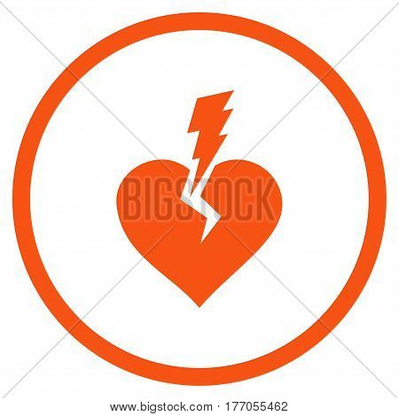 Love Heart Crash rounded icon. Vector illustration style is flat iconic symbol inside circle, orange color, white background.