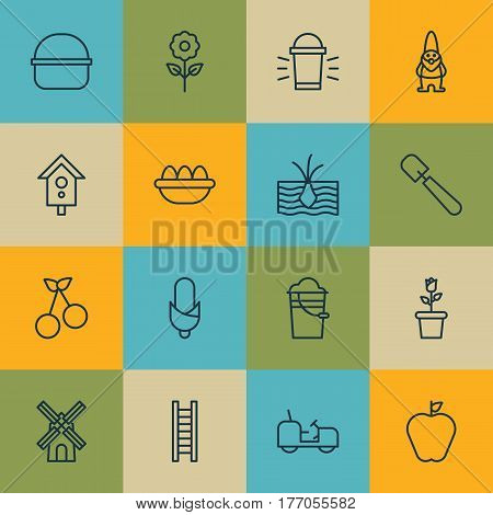 Set Of 16 Farm Icons. Includes Taste Apple, Growing Plant, Shovel And Other Symbols. Beautiful Design Elements.