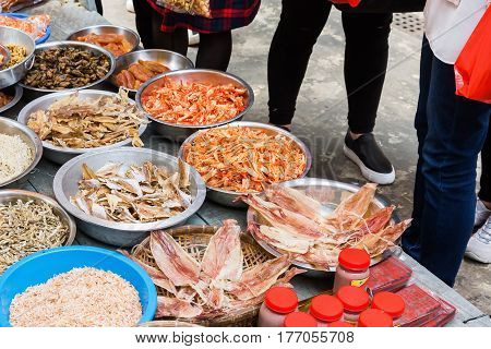 Market Stall With Seafood In Tai O, Hongkong