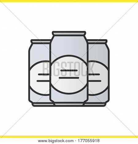 Beer cans color icon. Isolated vector illustration