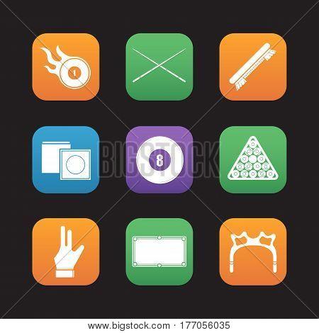 Billiard flat design icons set. Pool ball rack, cues, brush, glove, eight ball, chalk, table, rest head, burning ball. Web application interface. Vector illustrations