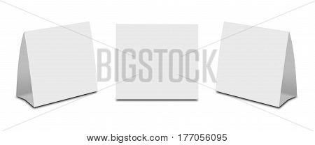 Blank White Table Tent On White. Paper Vertical Cards Isolated On White Background. Front, Left And