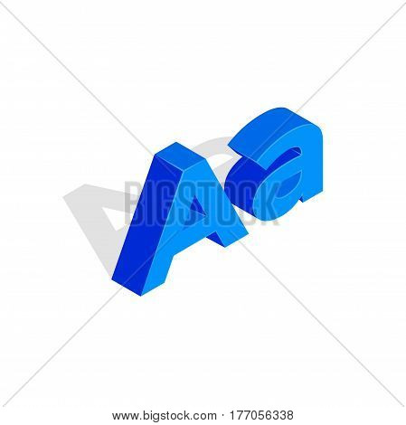 Isometric a letter. Font illustration, first letter a. Blue character