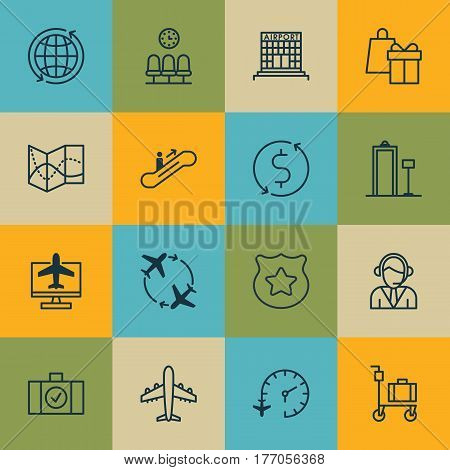 Set Of 16 Traveling Icons. Includes Security Scanner, Airliner, Airfield Manufacture And Other Symbols. Beautiful Design Elements.